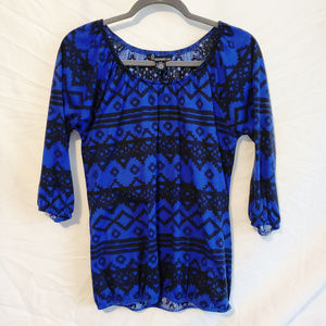 (3 for $30) Royal Blue & Black Aztec Top